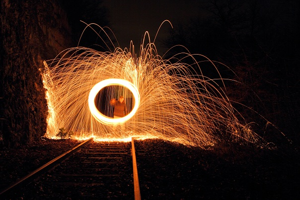 Light painting feu rail